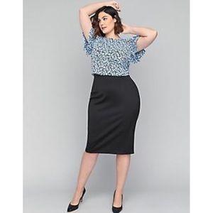 Lane Bryant Stretchy Black Pencil Skirt Zipper EUC